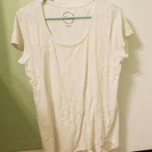 Lucky Brand Embellished cream top large